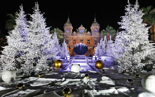 Monte Carlo Casino and its Christmas decorations in Monaco.