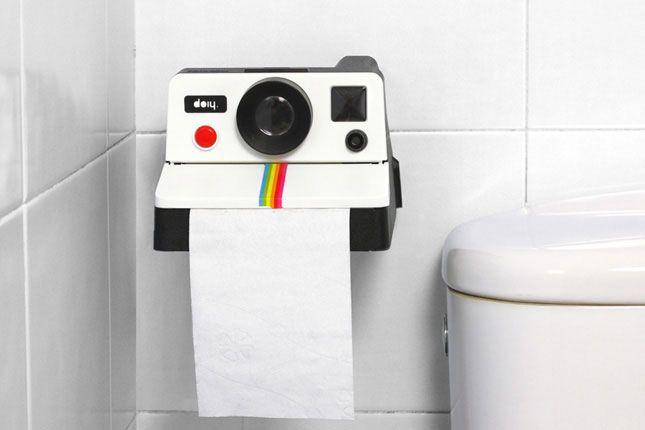 Toilet Paper Dispenser Shaped Like a Polaroid Camera