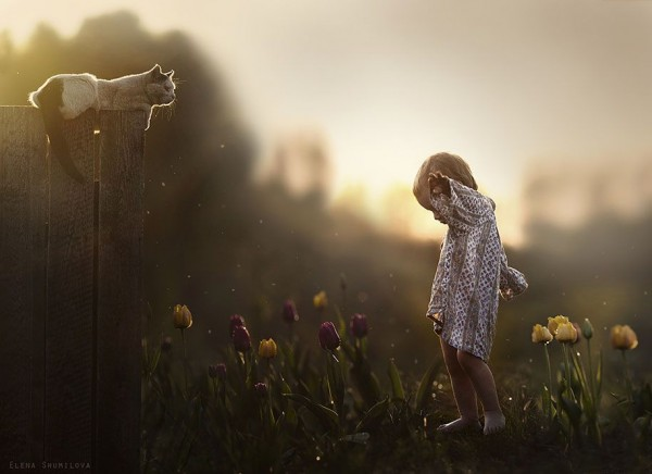Kids and Animals by Elena Shumilova