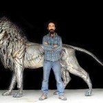 A Lion Sculpture Wonderfully Made out of 4,000 Pieces of Hammered Metal