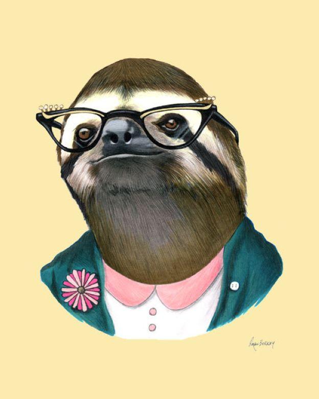 Sloth Lady art print