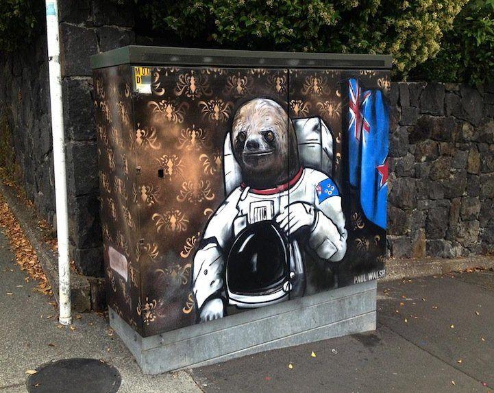 Street Artist Paul Walsh Creates Wonderful Paintings on New Zealand's Telephone Utility Boxes