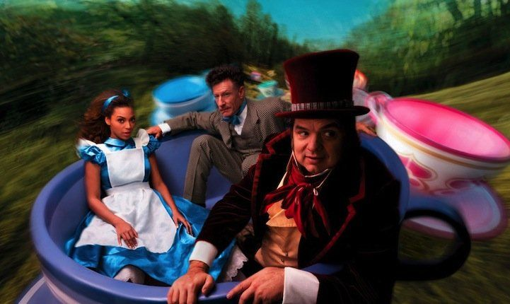 Beyonce, Oliver Platt and Lyle Lovett as the characters of 'Alice in Wonderland.'
