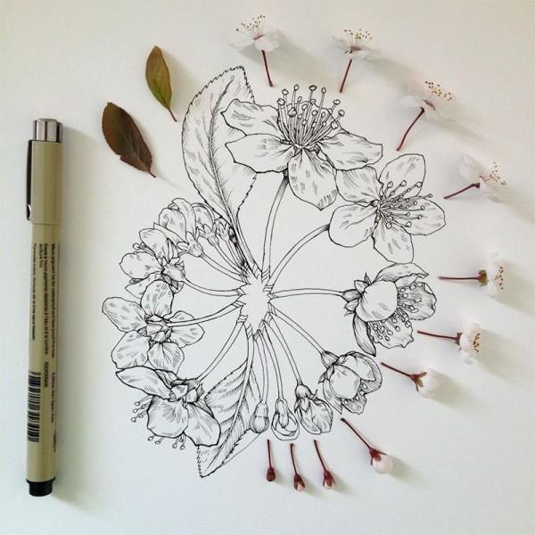 Amazing Drawing Project 'Flowers in Progress' by Noel Badges Pugh
