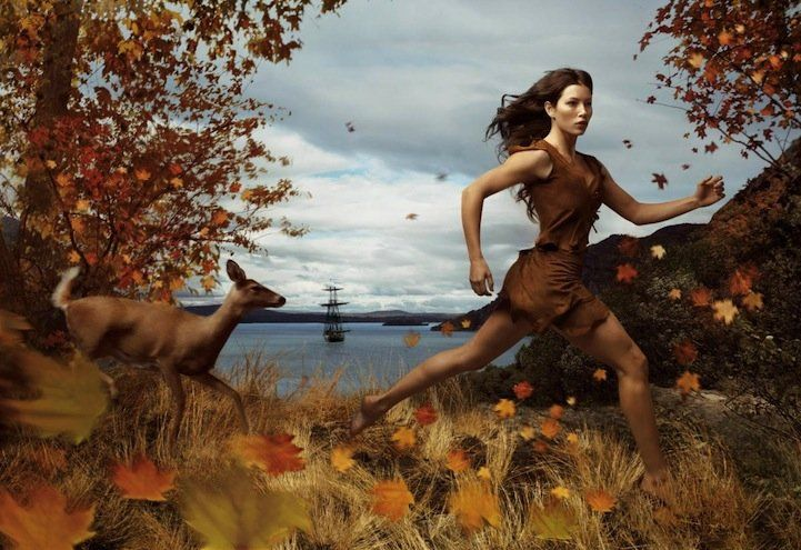 Jessica Biel in the role of Pocahontas