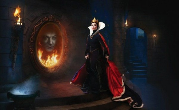 Olivia Wilde as the Evil Queen and Alec Baldwin as a magic mirror