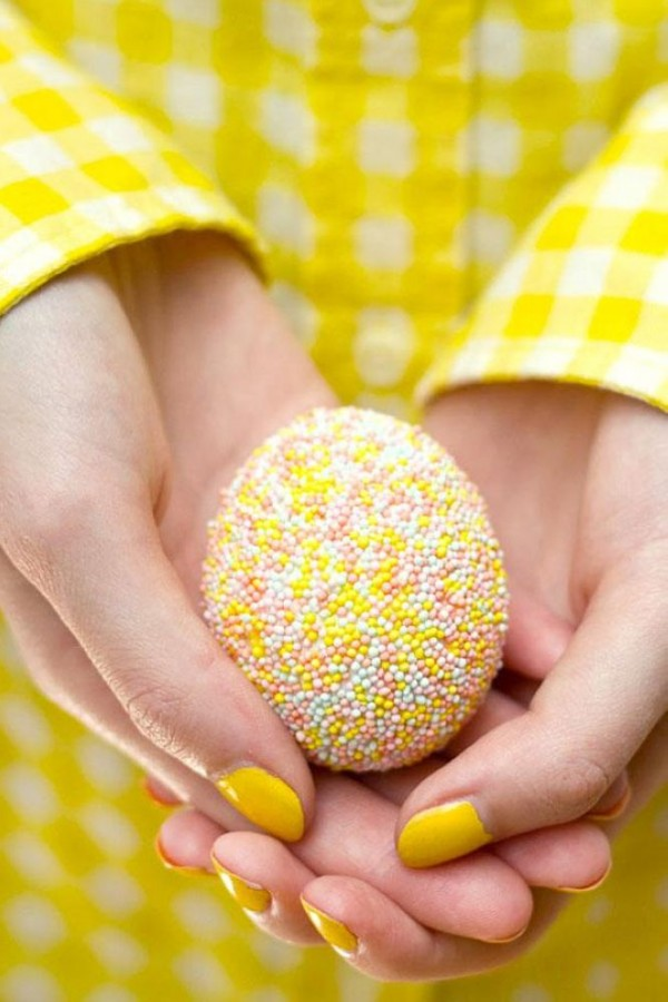 Cover Egg With Tacky Glue and Dip In Sprinkles
