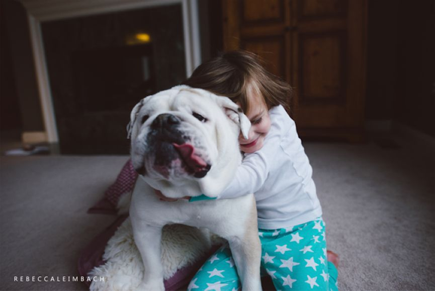 Harper and Bulldog Lola by Rebecca Leimbach