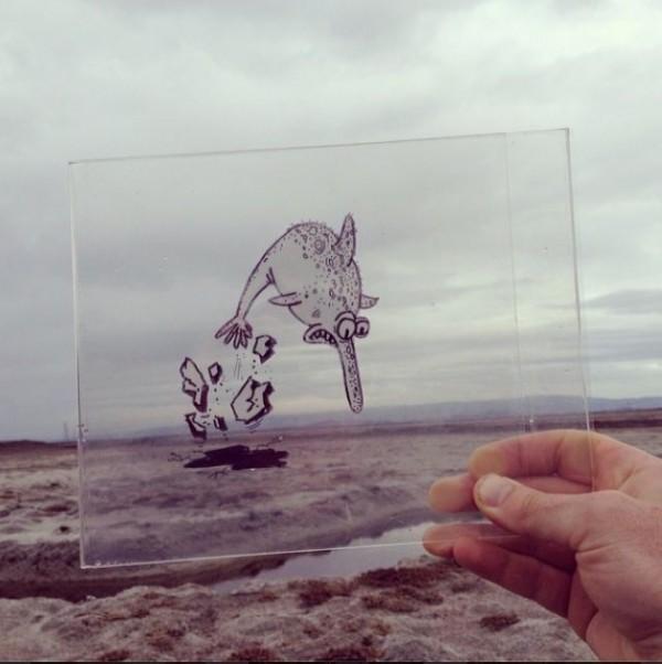 Illustrator Transforms His Daily Cartoon Drawings on transparencies