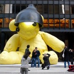 Giant Bronze Teddy Bear Sculpture Display at Seagram Plaza