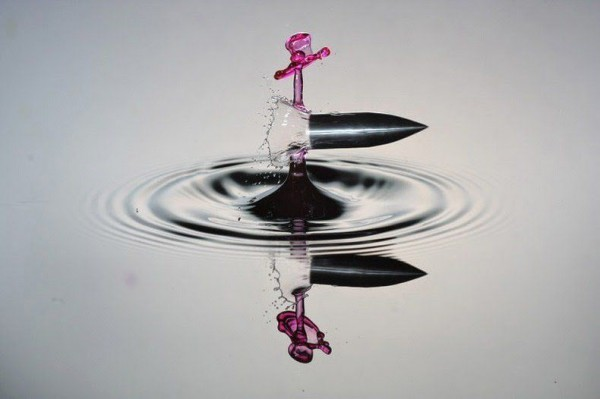 High-speed photography of a flying bullet