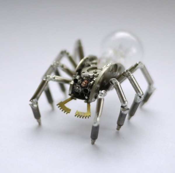 Mind-blowing Tiny Mechanical Insects Made out of Watch Parts and Bulbs