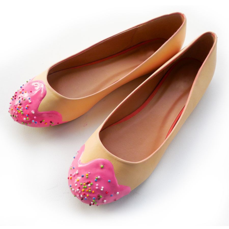 Pink Lace Dolly Shoes
