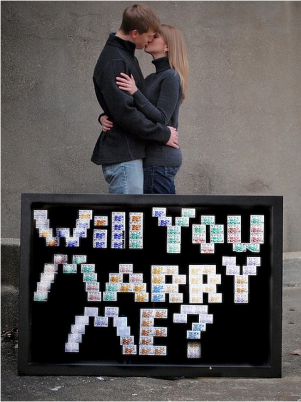 Share marriage proposal with each movie ticket on which you were
