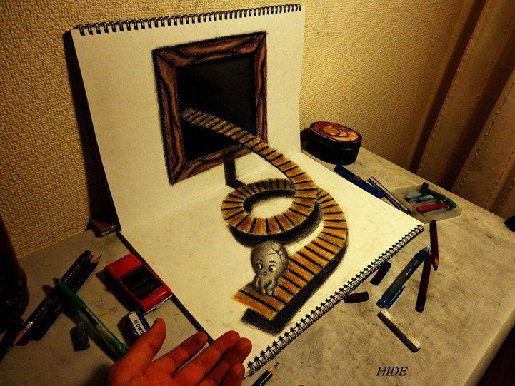Fascinating 3D Illusion Sketchbook Drawings of Nagai Hideyuki