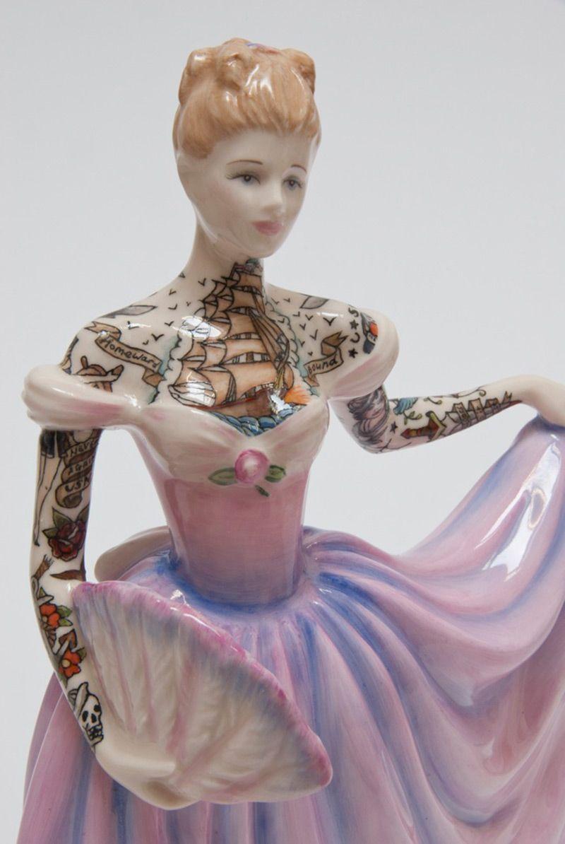Tattooed Porcelain Figurines by Jessica Harrison