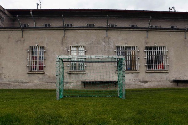 A goalpost stands in Cretelongue jail in Granges near Sion, Switzerland on May 30, 2014
