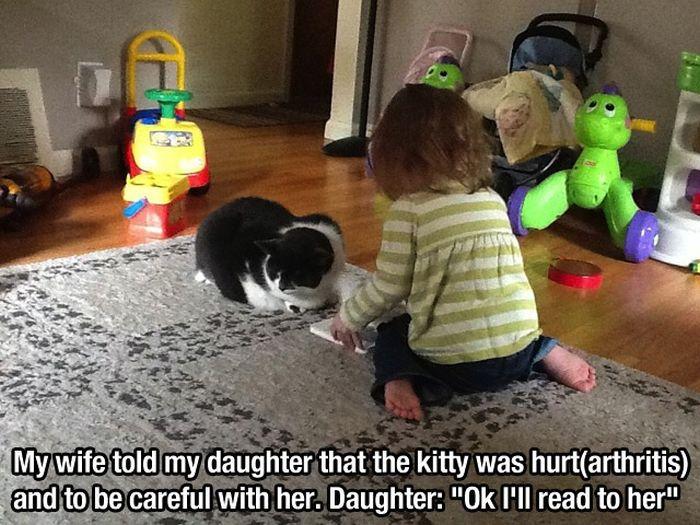 This Little Girl Reading For Hurt Kitty