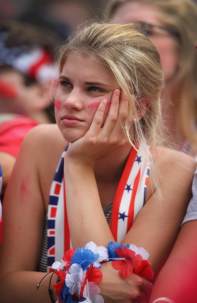 A fan in Chicago watches USA play Germany