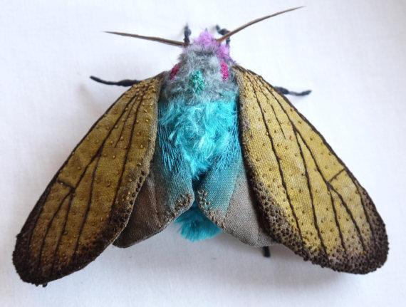 Large Brown Ctenucha Moth textile art