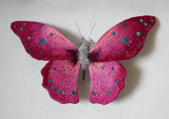 Large Magenta color butterfly textile art
