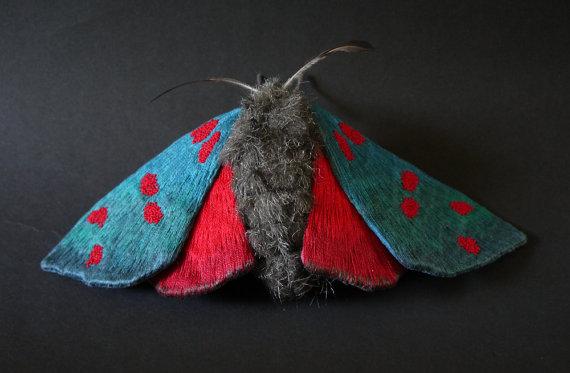 Large Six-spot Burnets moth textile art