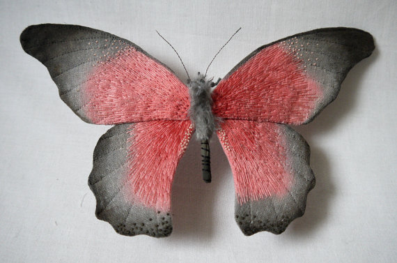 Large coral pink and gray butterfly textile art