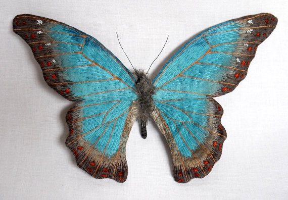 Large turquoise color butterfly textile art