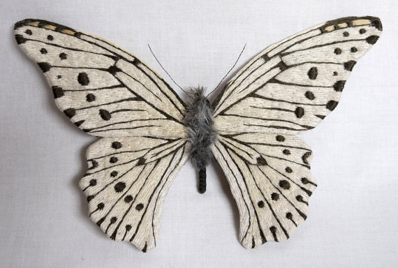 Large white with black spotted butterfly textile art