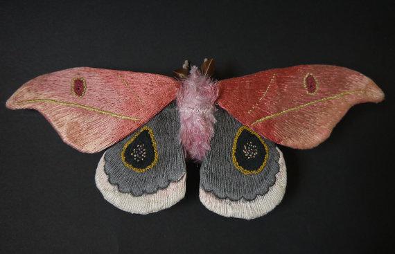 Leucanella flammans (Saturniid Moth) textile art