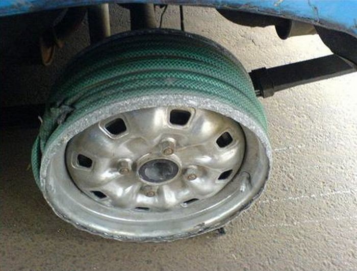 The owner of this car who assumed a rubber hose was just as good as a rubber tire