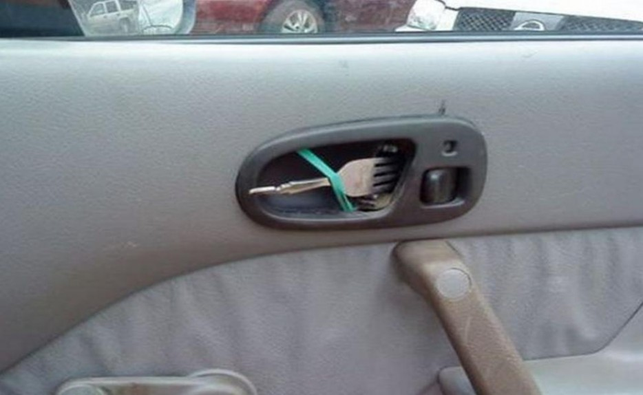 The person who wanted their door handle to come in handy during fast food runs