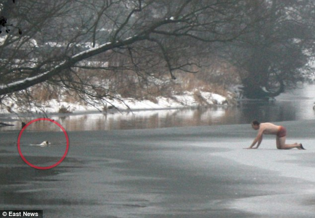 This Man Risks Life to Save Dog on Icy River