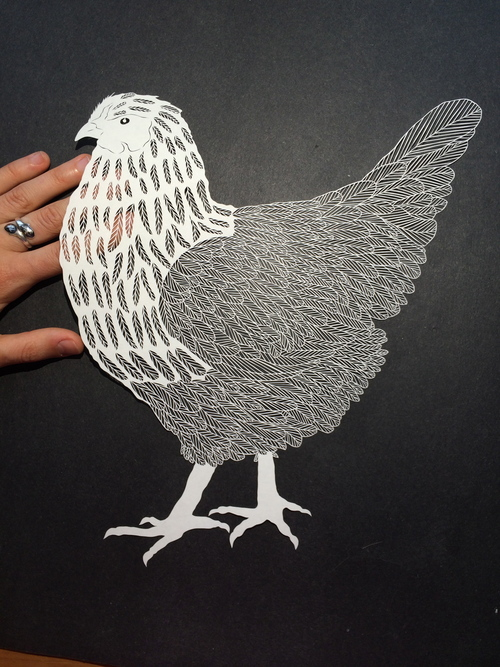 Handcut paper chicken