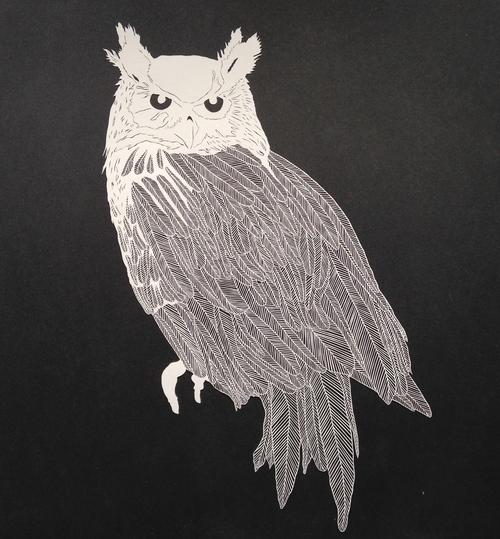 Large Papercut Owl