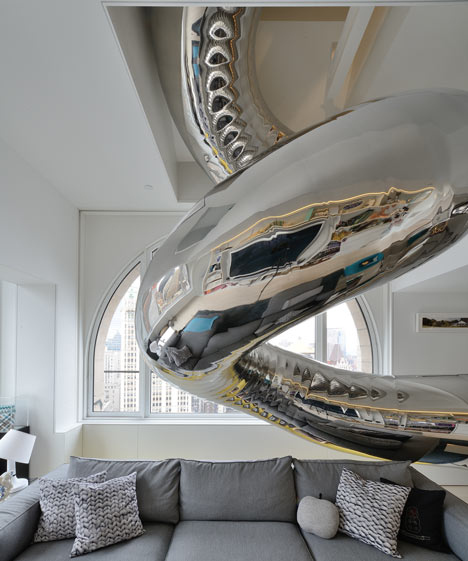 A Giant Twirly Stainless Steel Slide