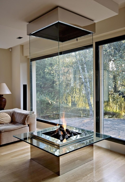 A Glass-Encased Fireplace
