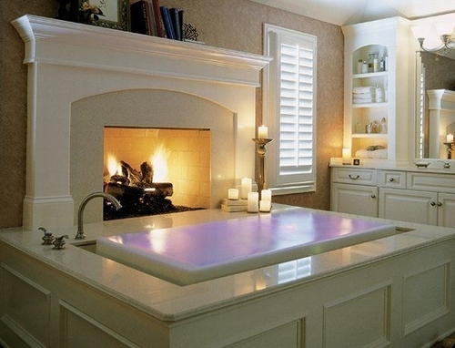 An Overflow Bathtub with Fireplace