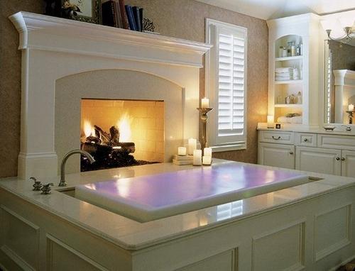 An Overflow Bathtub with Fireplace