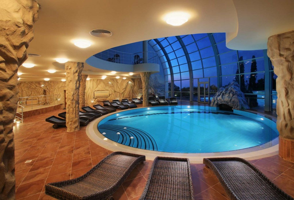 Indoor pool connected to outdoor pool