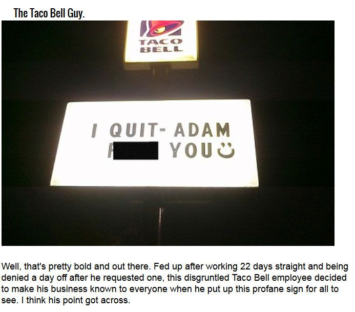 This disgruntled Taco Bell employee