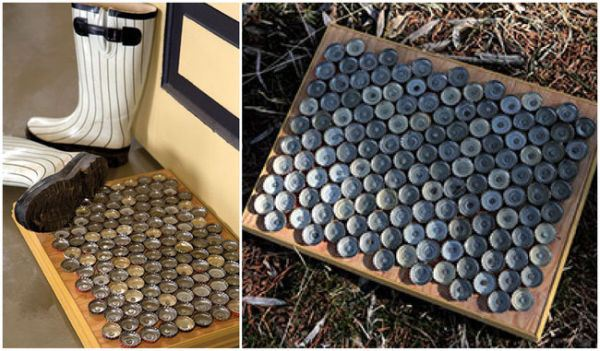 Glue bottle caps upside down on a board to use as a door mat.