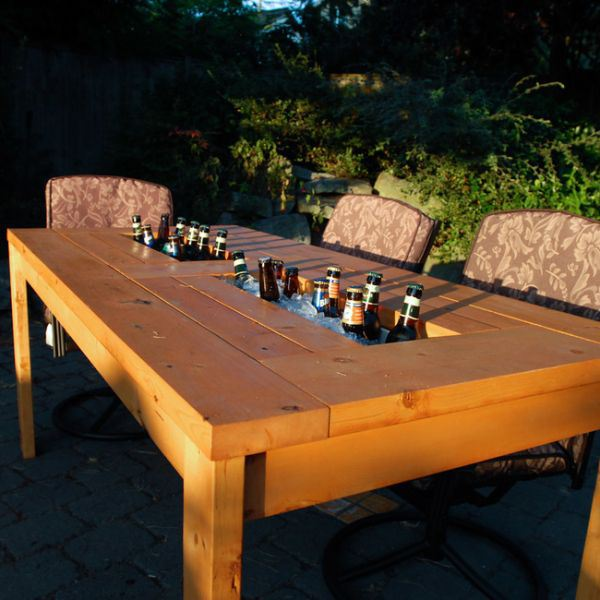 Grab a saw and convert your patio table into a beer filled fun table.