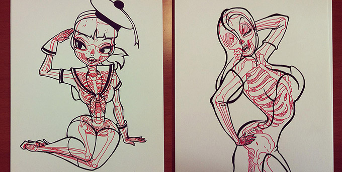 Skeletons In Coloring Book Pages-02