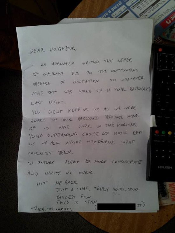 This backyard party note