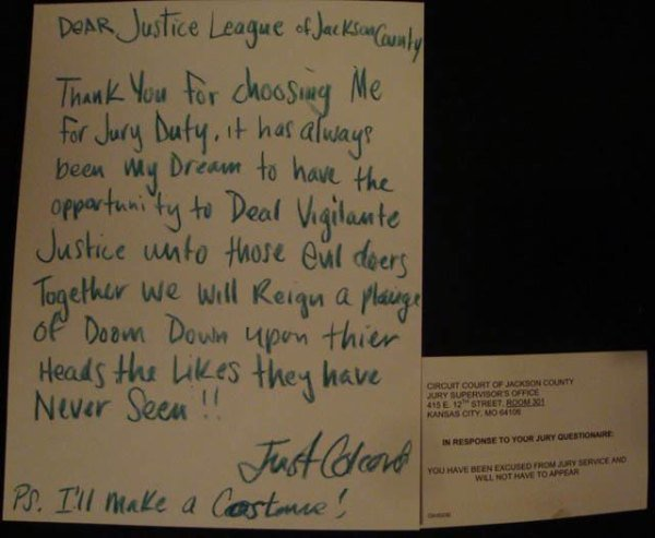 This note to justice league