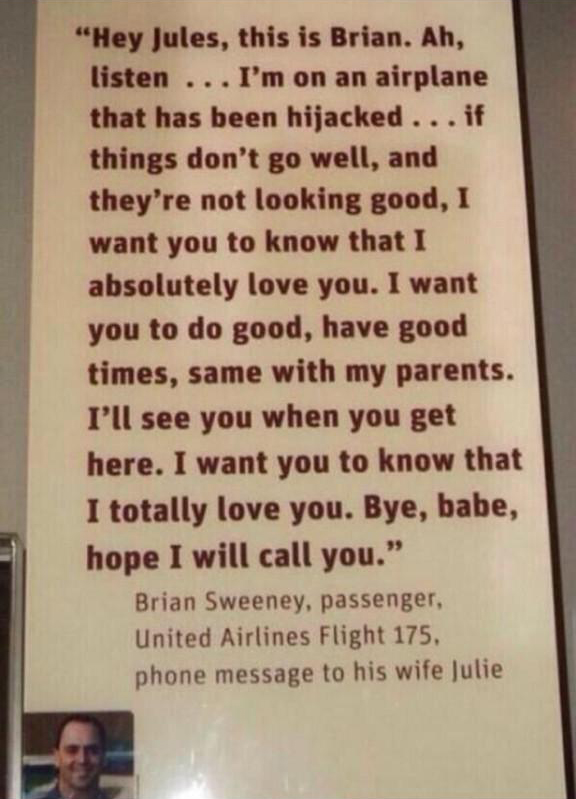 A phone message left by a passenger on flight 175