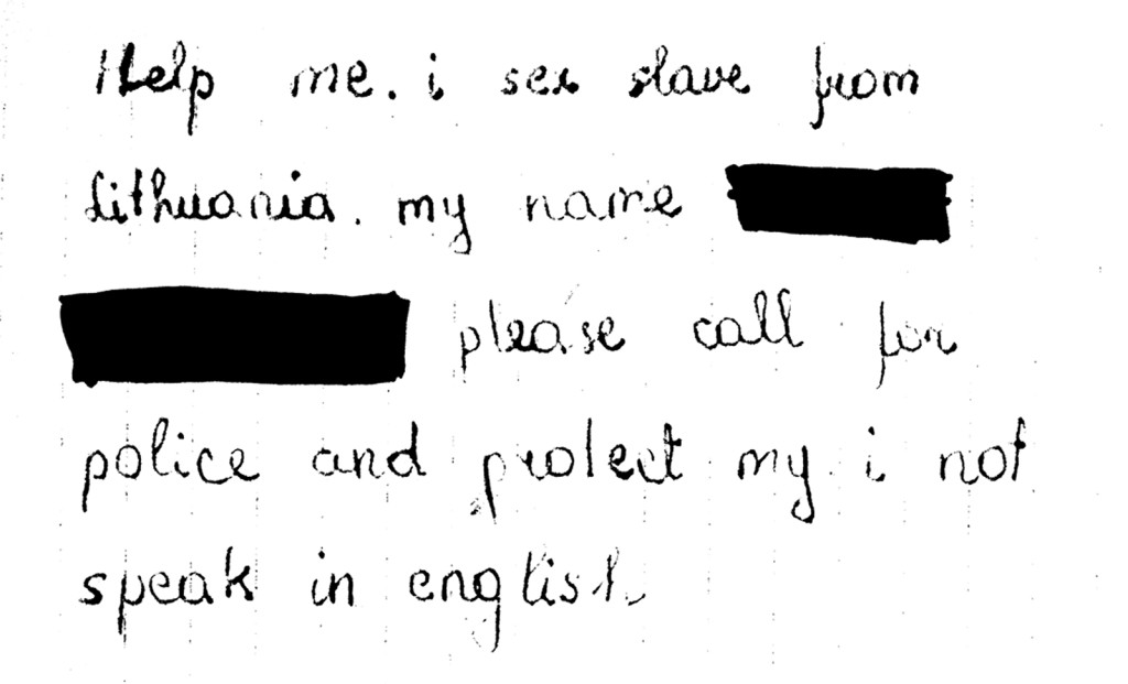 Desperate letter from a sex slave