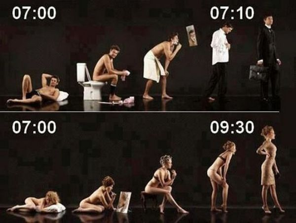 How quick they get ready in the morning