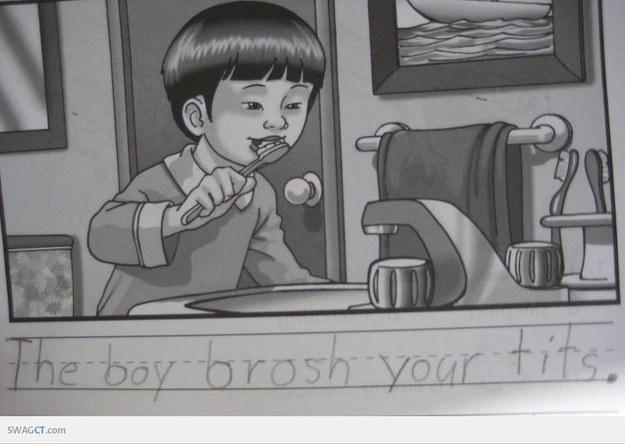 This boy brushing teeth